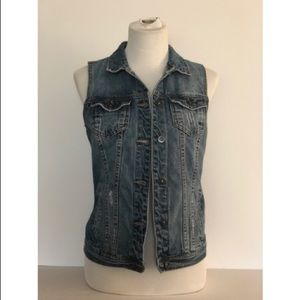 NWOT JustFab distressed denim vest, Sz. S